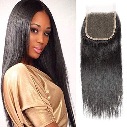 """Selina Hair Top Quality 4x4 Closure Brazilian Straight Lace Closure Human Hair Free Part Soft And Silky Natural Hair Color Black(8""""Straight, Free part) ()"""