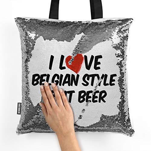 NEONBLOND Mermaid Tote Handbag I Love Belgian Style Fruit Beer Reversible Sequin