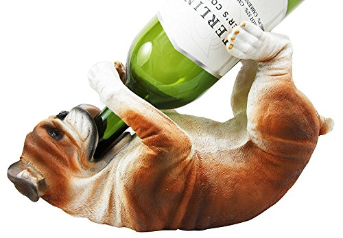 KITCHEN DECOR AMERICAN BULLDOG DOG WINE BOTTLE HOLDER FIGURINE STATUE