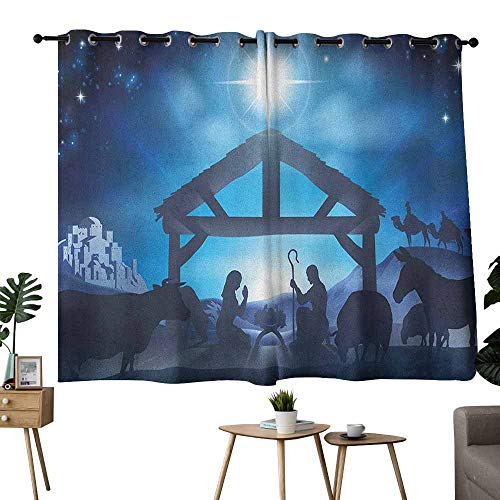 (Mannwarehouse Blue Light Luxury high-end Curtains Birth Scene in Bethlehem with Christmas Star Barn Animals Magical Night Privacy Protection 63
