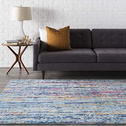 Lamar Blue and Orange Modern Area Rug 7 10 x 10 3