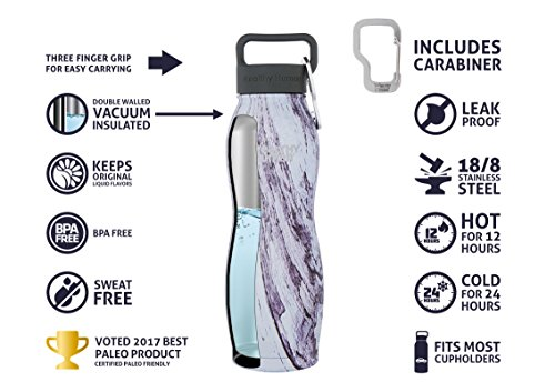 Healthy Human Insulated Stainless Steel Water Bottle Curve - Cold 24 Hours/Hot 12 Hours - Double Walled Vacuum Thermos Flask with Hydro Guide & Carabiner - 21 oz Orchid Driftwood by Healthy Human (Image #3)