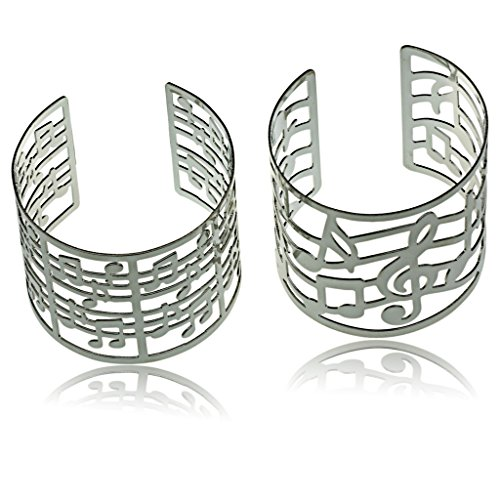 Womens Music G Clef Notes Desing Polished Finish Fashion Cuff Bracelets
