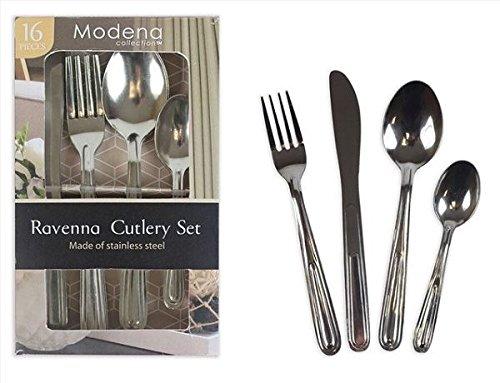16Pc Cutlery Set Stainless Steel Dinner Dessert Spoon Fork Knife Teaspoon EliteZotec®