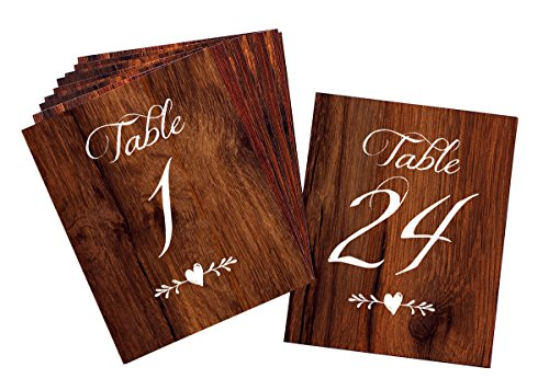 Rustic Wedding Table Numbers | Wood Look Table Numbers 1-24 | Includes Mr and Mrs Sweetheart Table Cards and 2 Reserved Table Cards | Heavy Cardstock with Linen Texture Double Sided -