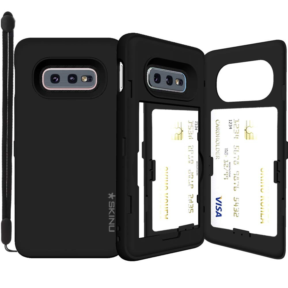 Galaxy S10e, SKINU [Galaxy S10e Wallet] S10e Dual Layer Hidden Credit Holder ID Slot Card Case with Wrist Strap Inner Mirror for Galaxy S10e (2019) - Black