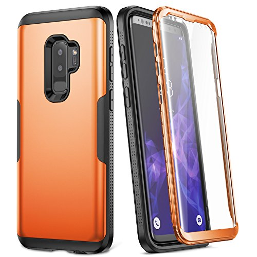 Galaxy S9+ Plus Case, YOUMAKER Metallic Orange with Built-in Screen Protector Heavy Duty Protection Shockproof Slim Fit Full Body Case Cover for Samsung Galaxy S9 Plus 6.2 inch (2018) - Orange/Black