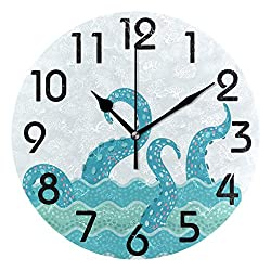 Naanle Chic Cute Octopus Tentacle in Waves Pattern Round Wall Clock Decorative, 9.5 Inch Battery Operated Quartz Analog Quiet Desk Clock for Home,Office,School