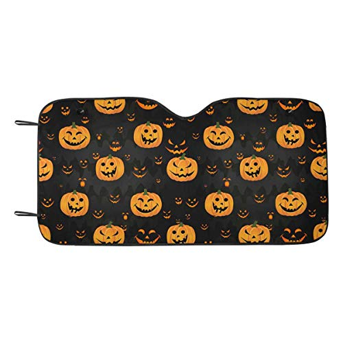 INTERESTPRINT Halloween Pattern Pumpkin Scary Face Car Shade Windshield Universal Fit Cover]()