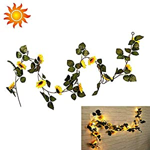 String Fairy Lights With Sunflowers Led Lighted Fall Autumn Pumpkin Maple Leaves Garland Decor, 1.8M Artificial Silk Flowers Fall Decor 98