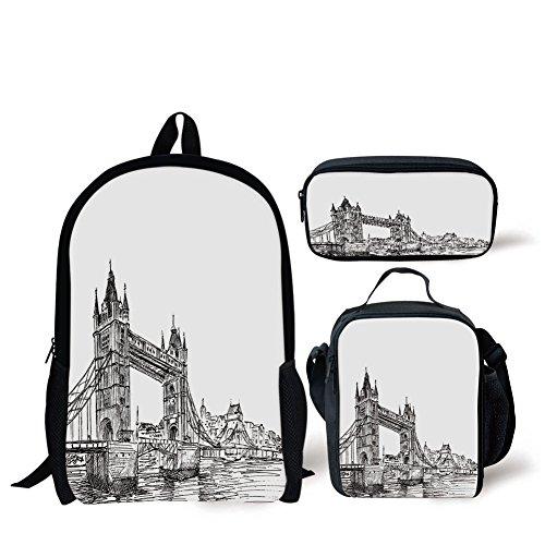 (School Lunch Pen Bags,Vintage,Old Fashion London Tower Bridge Sketch Architecture British UK Scenery Art Print,Black White,Personalized Print)