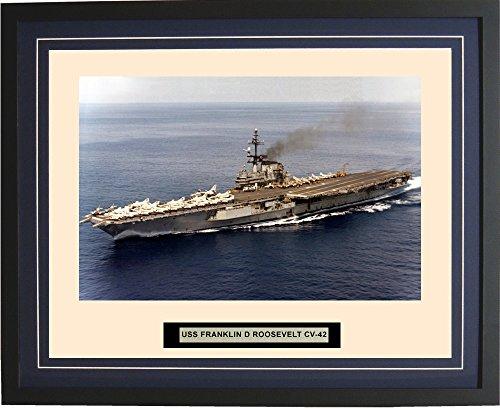 Navy Emporium - USS Franklin D Roosevelt CV-42 - Framed - Photo - Engraved Ship Name - Double Mat - Photograph - 16 X 20-54CV42Blue ()