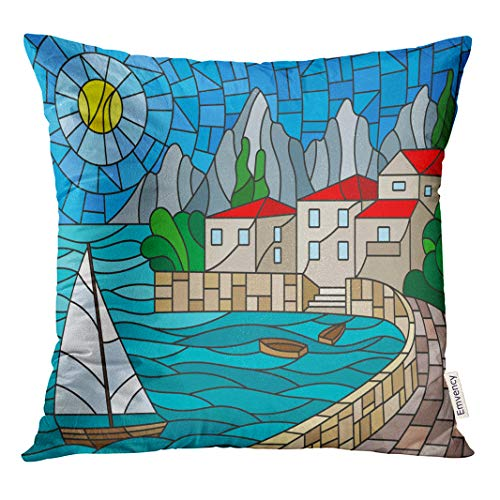 Semtomn Decorative Throw Pillow Case Cushion Cover The in Stained Glass Painting Sailboat of Bay City Sea 20x20 Inch Cases Square Pillowcases ()