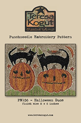 Halloween Duos Cat Punchneedle Embroidery Teresa Kogut Pattern PN156 Autumn Fall]()