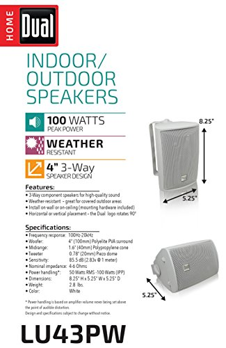 Dual Electronics LU43PW 3-Way High Performance Outdoor Indoor Speakers with  Powerful Bass | Effortless Mounting Swivel Brackets | All Weather