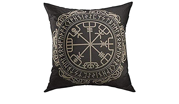Funda de cojín Diseño celta vikingo negro Brújula rúnica mágica ...