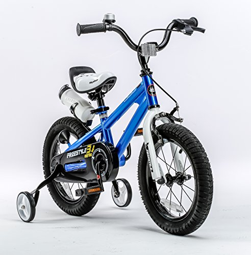 RoyalBaby-BMX-Freestyle-Kids-Bike-Boys-Bikes-and-Girls-Bikes-with-training-wheels-Gifts-for-children-16-inch-wheels-Blue