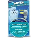 Frigidaire 53055-1010 3-Wire Dryer Power Cord, 4-Feet