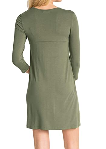 Womens V Neck Dress Casual Swing Simple Ruffle Button up Loose Dresses 3/4 Sleeve Long Sleeve