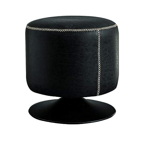 Amazon.com: Taburete tapizado de piel, taburete bajo, salón ...