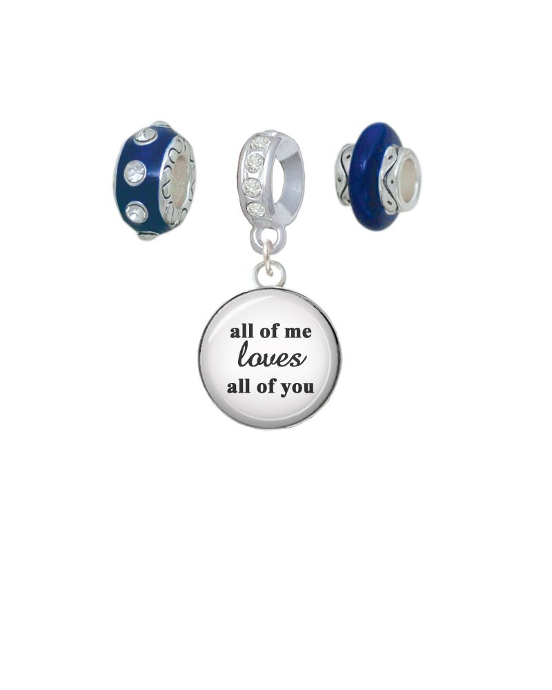 Silvertone Domed All of Me Loves All of You Navy Charm Beads (Set of 3)
