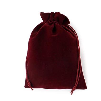 Haodou Cordón Bolsas Rojo Oscuro Terciopelo Bolsa de ...
