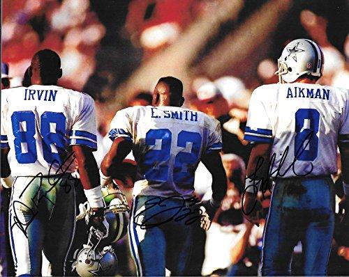 Emmitt Smith , Aikman & Irvin Autographed Signed Dallas Cowboys 8 x 10 Photo W/COA - Mint