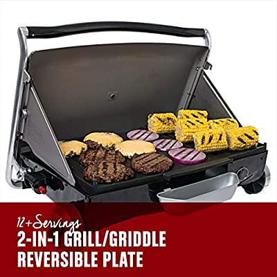 George Foreman GP200B Portable Propane Camp & Tailgate Grill, Portable Gas Grill, Camping Grill, Black