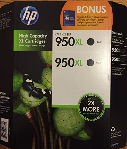 HP 950XL Black Ink Cartridge-Twin Pack with Bonus