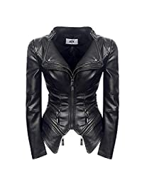 Women Leather Jackets Short Punk Motorcycle Jacket Coats for Female Zipper Turn Down Collar Leather Coats Women
