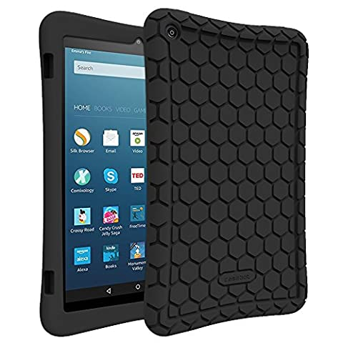 Fintie Silicone Case for Amazon Fire HD 8 (Previous Generation - 6th) 2016 release - [Honey Comb Series] [Kids Friendly] Light Weight [Anti Slip] Shock Proof Silicone Protective Cover, (Kindle 6 Cases For Kids)