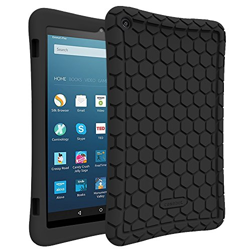 Fintie Silicone Case for Amazon Fire HD 8 (Previous Generation - 6th) 2016 release - [Honey Comb Series] Light Weight Anti Slip Shockproof Kids Friendly Cover (NOT Fit All-New Fire HD 8 2017), Black