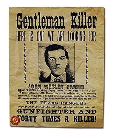 "Amazon.com: John Wesley Hardin, ""The Gentleman Killer"" Wanted Poster ..."