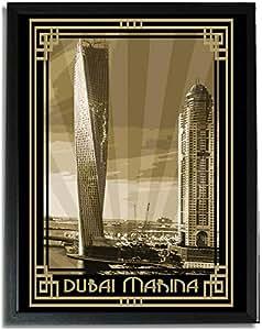 Dubai Marina- Sepia With Gold Border F09-nm (a4) - Framed
