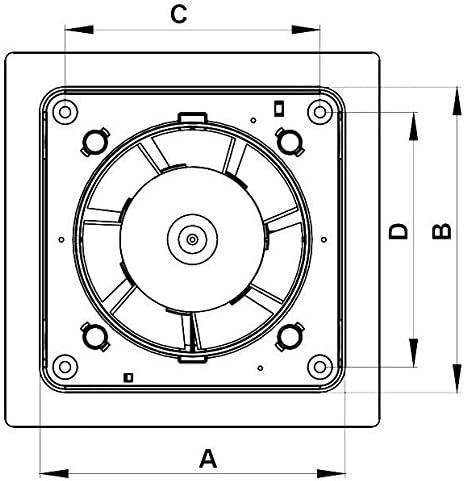 K/üche Bad WC Wand L/üftung Abluftventilator Timer mit 5125 mm wei/ß