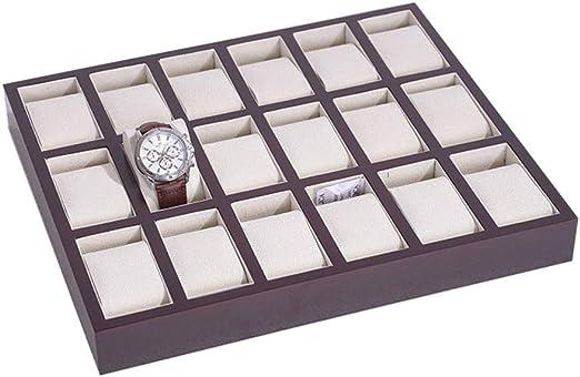 Caja Estuche Organizador de Relojes, Las mujeres apilable Bandeja de los hombres del reloj clásico con Encanto 18 ranuras de soporte del escaparate Reloj Organizador Visualización de almacenamiento ca: Amazon.es: Hogar