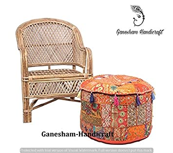 GANESHAM Indian Embroidered Patchwork Ottoman Cover, Indian Pouf Ottoman Indian Comfortable Floor Cotton Cushion Ottoman Pouf Home Decor Handmade Vintage Pouf Ottoman Foot Stool (Christmas Decorative)