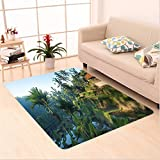 Nalahome Custom carpet r Terrace Rice Fields Palm Trees Traditional Farmhouse Morning Sunrise View Bali Indonesia Green area rugs for Living Dining Room Bedroom Hallway Office Carpet (6' X 9')