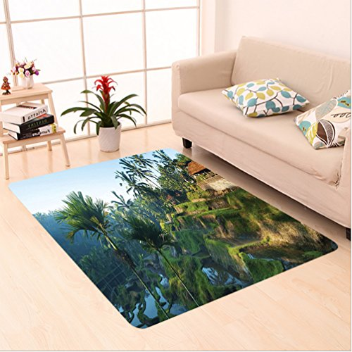 Nalahome Custom carpet r Terrace Rice Fields Palm Trees Traditional Farmhouse Morning Sunrise View Bali Indonesia Green area rugs for Living Dining Room Bedroom Hallway Office Carpet (6' X 9') by Nalahome