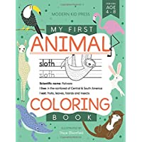 My First Animal Coloring Book for Kids Ages 4-8: Learn Fun Facts, Practice Handwriting and Color Hand Drawn…