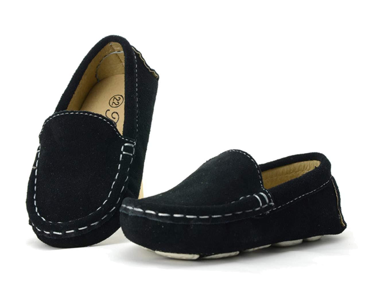 WUIWUIYU Boys' Girls' Suede Slip-On Loafers Flats Moccasins Comfort Casual Shoes Black Size 7 M by WUIWUIYU (Image #2)