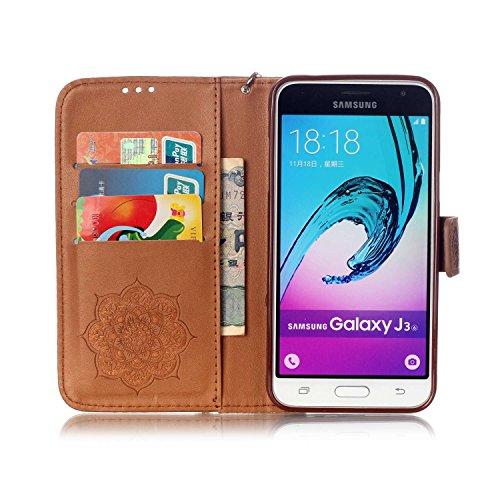 JIALUN-Personality teléfono shell Funda Samsung Galaxy J3 J310, cubierta de la caja del soporte del tirón del cuero de la PU con la muñeca de la mano y ranuras para tarjeta de efectivo / soporte para  Brown
