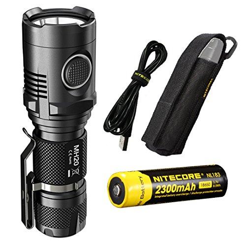 Nitecore MH20 w/18650 Nitecore Battery, 1000 Lumens the Smallest USB Rechargeable Flashlight , LumenTac USB AC & Car Charger,Cree XM-L2 U2 LED
