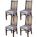 Fuloon Dining Chair Covers,Solid Pu Leather Waterproof and Oilproof Stretch Dining Chair Protctor Cover Slipcover