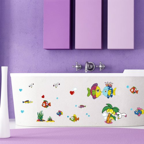 Mega Home Decal Mural Swimming Fish Happy Family Kids Nursery Room Wall Decals