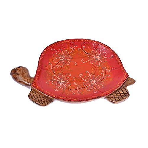 AeraVida Joyful Turtle Hand Painted Orange Floral Carved Mango Wood Tray