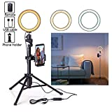Eocean 6.3'' Selfie Ring Light with Tripod for YouTube/Live Stream/Makeup, Mini Led Camera Ringlight for Vlog/Video/Photography Compatible with iPhone Xs/Max/XR 8/7 Plus/X/Android