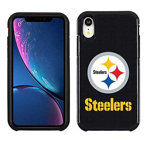 Prime Brands Group Cell Phone Case for Apple iPhone XR - NFL Licensed Pittsburgh Steelers - Black Textured Back Cover on Black TPU Skin