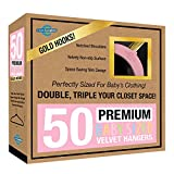 Closet Complete Baby Velvet Hangers, Premium Quality, True-Heavyweight, Virtually-UNBREAKABLE, Ultra-Thin, Space Saving No-Slip, Perfect Size for Babies 0-48 months 360° SPIN, Gold Hooks, Pink, 50 pc
