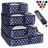 BAGAIL 4 Set Packing Cubes,Travel Luggage Packing Organizers with Laundry Bag Navy Dot